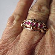 Silver/9kt Pink Gold Strawberry Red Multi Ruby Artisan Ladies Ring