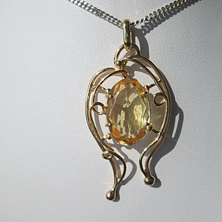 14kt Yellow Gold  Citrine Artisan Pendant