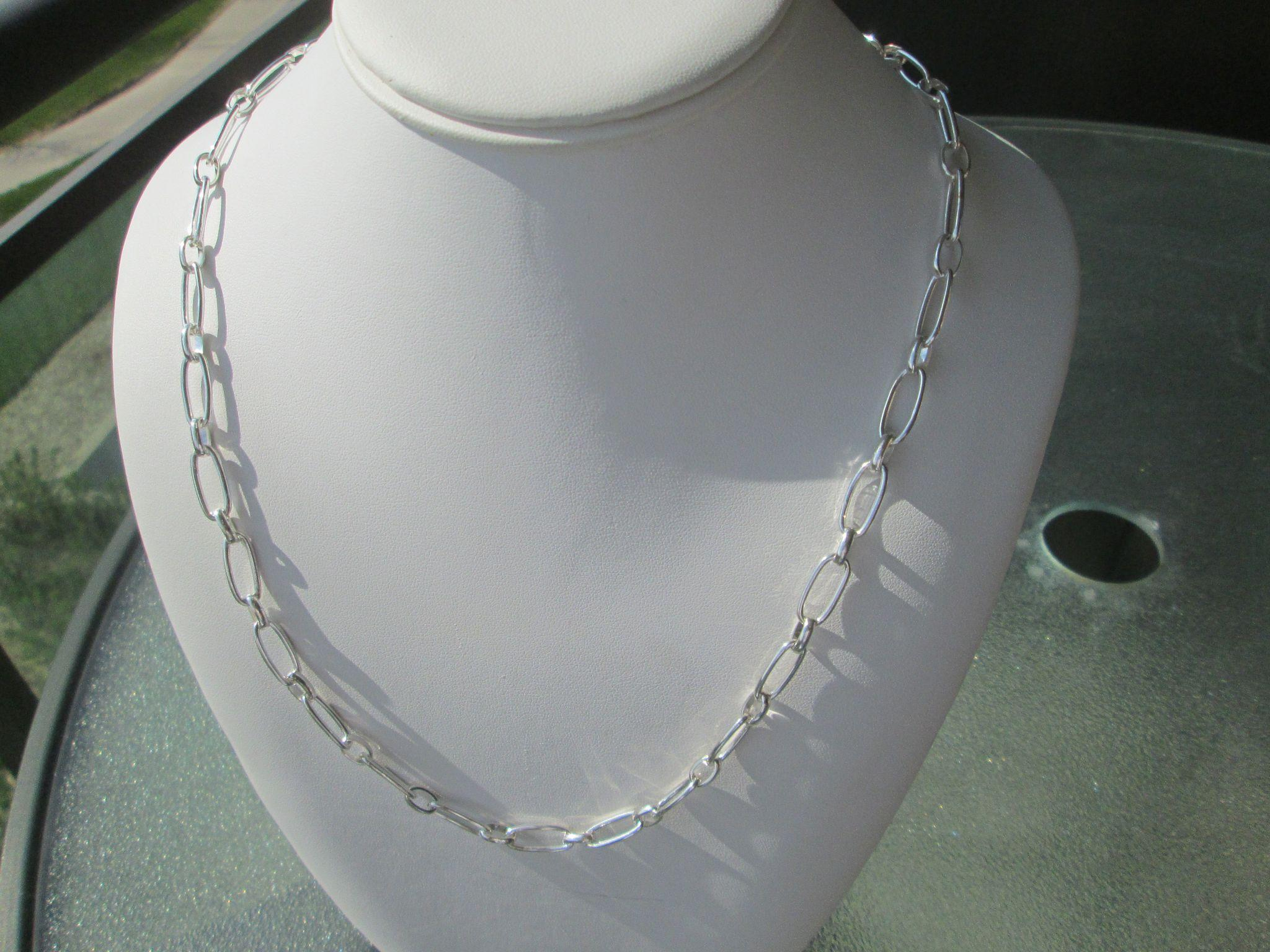 Sterling Silver Long Oval Handmade Link Necklace