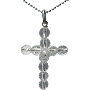 Clear Crystal Bead Silver Cross with Silver Chain