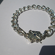 Sterling Silver Link Bracelet with Sapphire Slide Closure