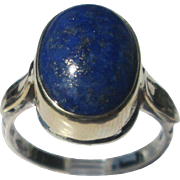 Sterling Silver 9kt Yellow Gold Blue Lapis Lazuli Cabochon Handmade Ladies Ring