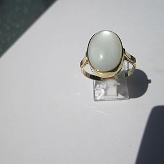 9kt Yellow Gold Oval Grey Smokey Color Ladies Handmade Moonstone Ring