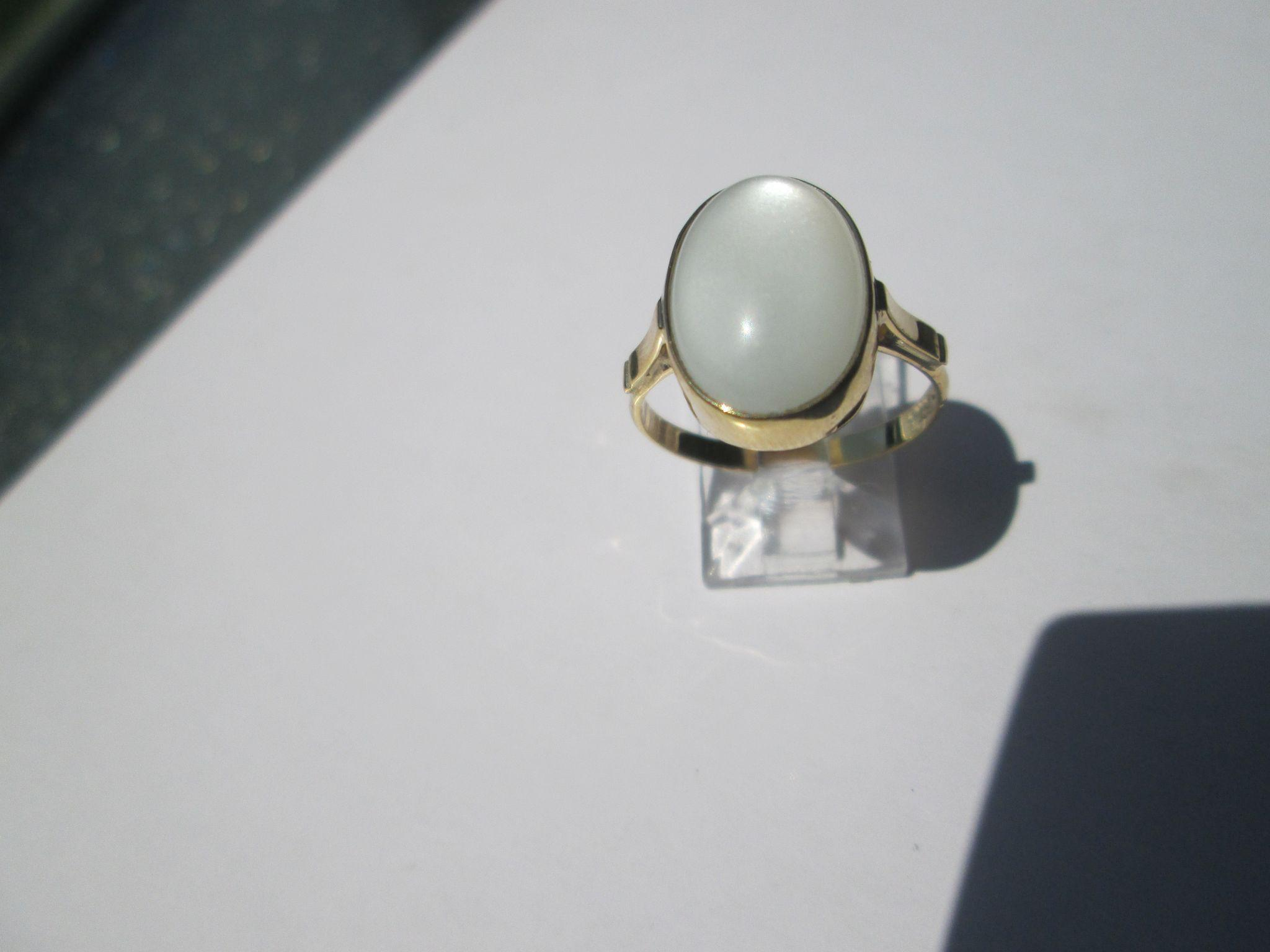9kt Yellow Gold Oval Grey Smokey Color Ladies Handmade Moonstone Ring