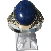 Sterling Silver and 9kt Yellow Gold Oval Blue Lapis Lazuli Ladies RIng