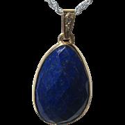 18kt Yellow Gold Lapis Lazuli and Diamond Drop Shape Pendant