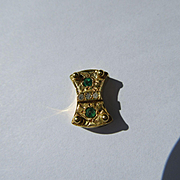 14kt Yellow Gold Emerald and Diamond Slide for Slide Bracelet