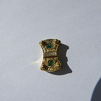 14kt Yellow Gold Emerald and Diamond Slide for Slide Bracelet