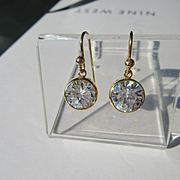9kt Yellow Gold Round Cubic Zirconia Dangle Earrings