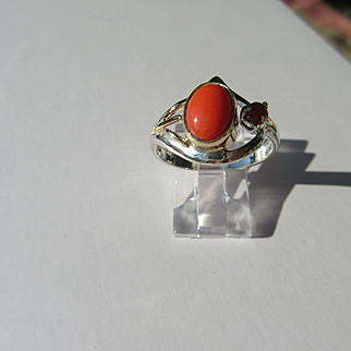 Sterling Silver/9kt Pink Gold Coral Artisan Ladies Ring