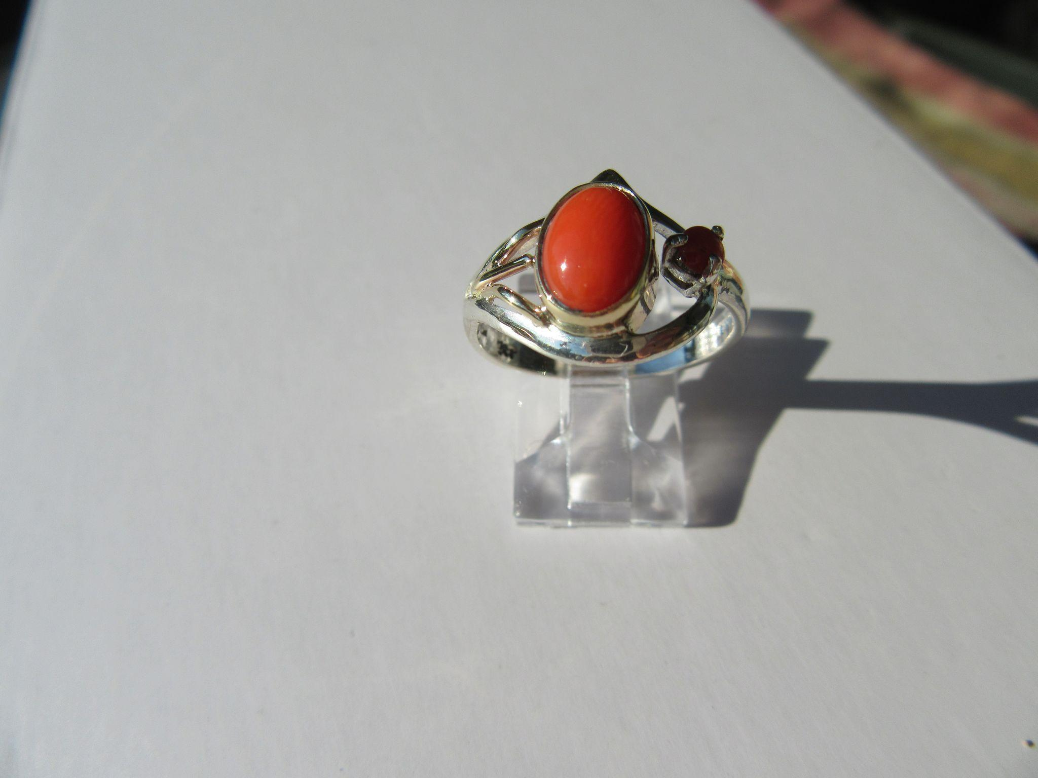 Sterling Silver/9kt Pink Gold Coral Artisan Ladies Ring