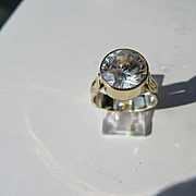Sterling Silver/9kt Yellow Gold Large Cubic Zirconia Ladies Artisan Ring