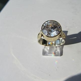 Sterling Silver/9kt Yellow Gold Large Cubic Zirconia Ladies Artisan Ring
