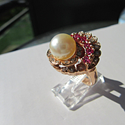 14kt Rose Gold Vintage Culture Pearl/Ruby/Diamond Blooming Floral Ring