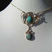 14kt Vintage Multi Turquoise and Seed Pearl Lavaliere