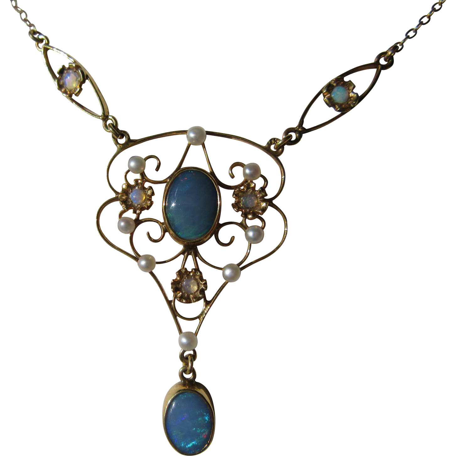 14kt Yellow Gold Multi Opal Seed Pearl Vintage Lavaliere