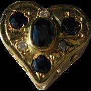 14kt Vintage Sapphire//Diamond Heart Slide