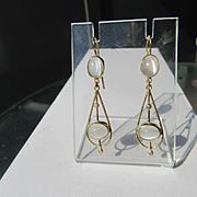 9kt Yellow Gold Double Oval Moonstone and Diamond Dangle Artisan Earrings