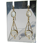 9kt Yellow Gold Double Oval Moonstone and Diamond Dangle Artisan Earrings