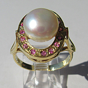14kt Yellow Gold Freshwater Pearl and Multi Ruby Ladies Ring