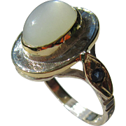 Sterling Silver/9kt Yellow Gold Artisan Oval Grey Moonstone and Sapphire Ladies Ring