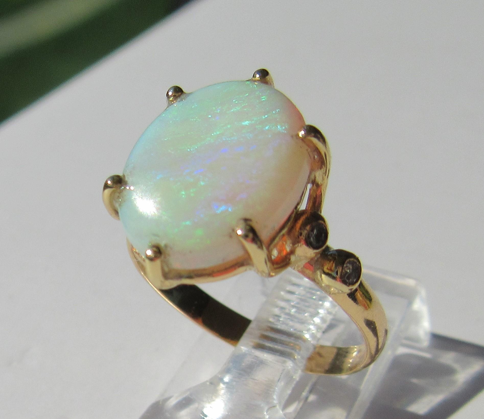 14kt Fiery Oval Opal and Multi Diamond Ladies Artisan Ring