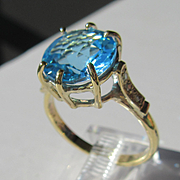 9kt Yellow Gold Vibrant Round Blue Topaz and Diamond Artisan Ladies Ring