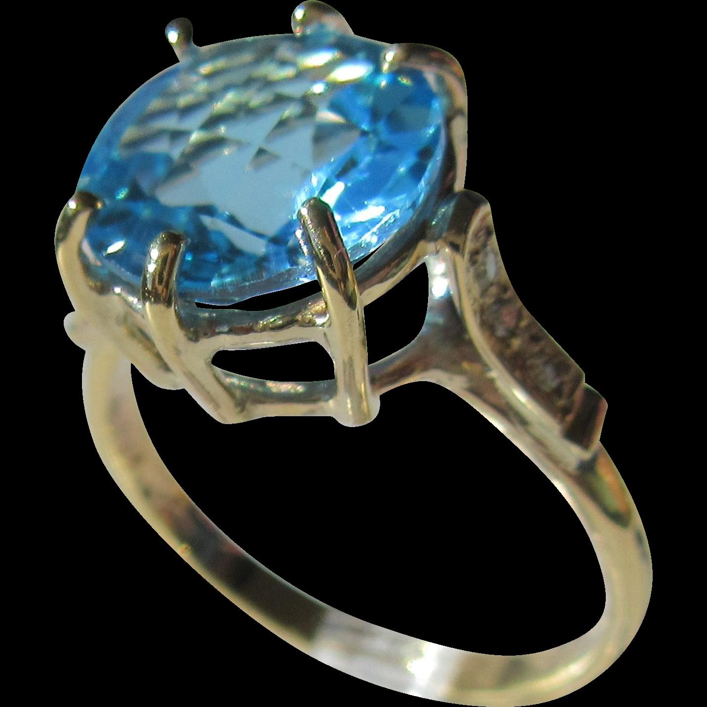 9kt Yellow Gold Vibrant Round Blue Topaz and Diamond Artisan Ladies Ring