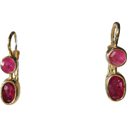 14kt Yellow Gold Double Strawberry Red Ruby Dangle Earring - French Back Closure