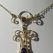 14kt Yellow Gold Amethyst, White Seed and Freshwater Pearl Lavaliere