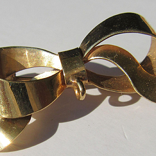 10kt Yellow Gold Vintage Handmade European Ribbon Brooch