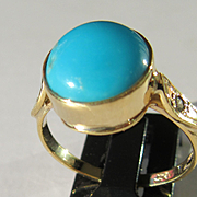9kt Yellow Gold Round Turquoise and Diamond Ladies Artisan Ring