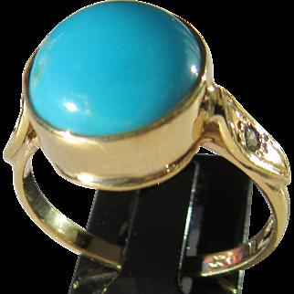 9kt Yellow Gold Round Turquoise and Diamond Ladies Artisan Ring
