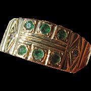 14kt Yellow Gold Vintage Emerald/Diamond Ladies Band Ring