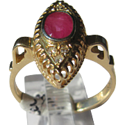 14kt Yellow Gold Ocular Shape Setting Ruby/Diamond Vintage Ladies Ring