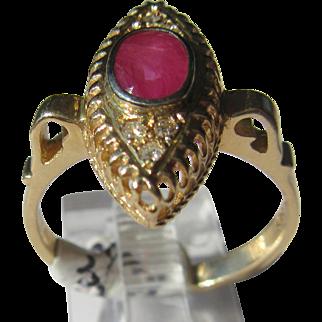 14kt Yellow Gold Ocular Shape Setting Ruby/Diamond Vintage Ladies Ring