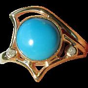 9kt Yellow Gold Turquoise/Diamond Artisan Ladies Ring