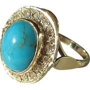 9kt Yellow Gold Oval Natural Inclusion Turquoise/Diamond Ladies Artisan Ring