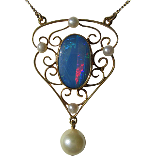 14kt Opal and Seed/Culture Pearl Vintage Lavaliere