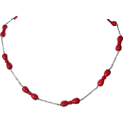 Sterling Silver Multi Coral Bright Red Necklace aka Sea Bamboo Coral