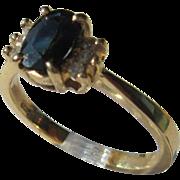 14kt Yellow Gold Vintage Sapphire/Diamond Ladies Ring