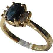 14kt Yellow Gold Vintage Sapphire/Diamond Ladies Ring