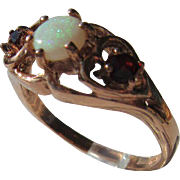 9kt Pink Gold Opal Garnet Vintage Ladies Ring