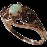 9kt Pink Gold Opal Garnet Vintage Ladies Ring