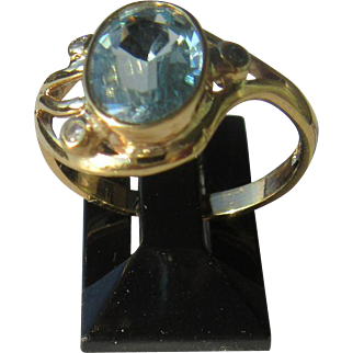 9kt Yellow Gold Blue Topaz and Diamond Ladies Ring