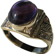 10kt Yellow Gold Vintage Cabochon Amethyst/Diamond Unisex Ring