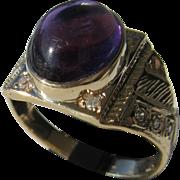 10kt Yellow Gold Vintage Cabochon Amethyst/Diamond Unisex Ring