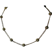 14kt Yellow Gold Vintage Necklace with Gold Starburst Beads, Statement Necklace