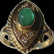 14kt Yellow Gold Vintage Cabochon Emerald/Diamond Ladies Ring