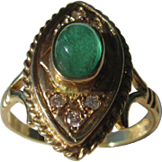 14kt Yellow Gold Vintage Cabochon Emerald/Diamond Ladies Ring